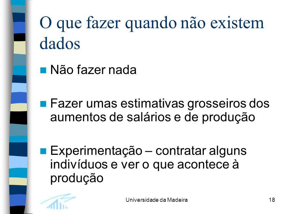 Universidade da Madeira18 O que fazer quando não existem dados Não fazer nada Fazer umas estimativas grosseiros dos aumentos de salários e de produção