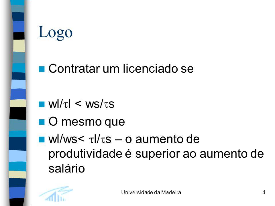 Universidade da Madeira4 Logo Contratar um licenciado se wl/  l < ws/  s O mesmo que wl/ws<  l/  s – o aumento de produtividade é superior ao aumento de salário