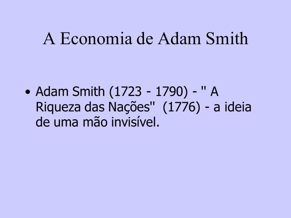 A Economia de Adam Smith Adam Smith (1723 - 1790) - '' A Riqueza das Nações'' (1776) - a ideia de uma mão invisível.