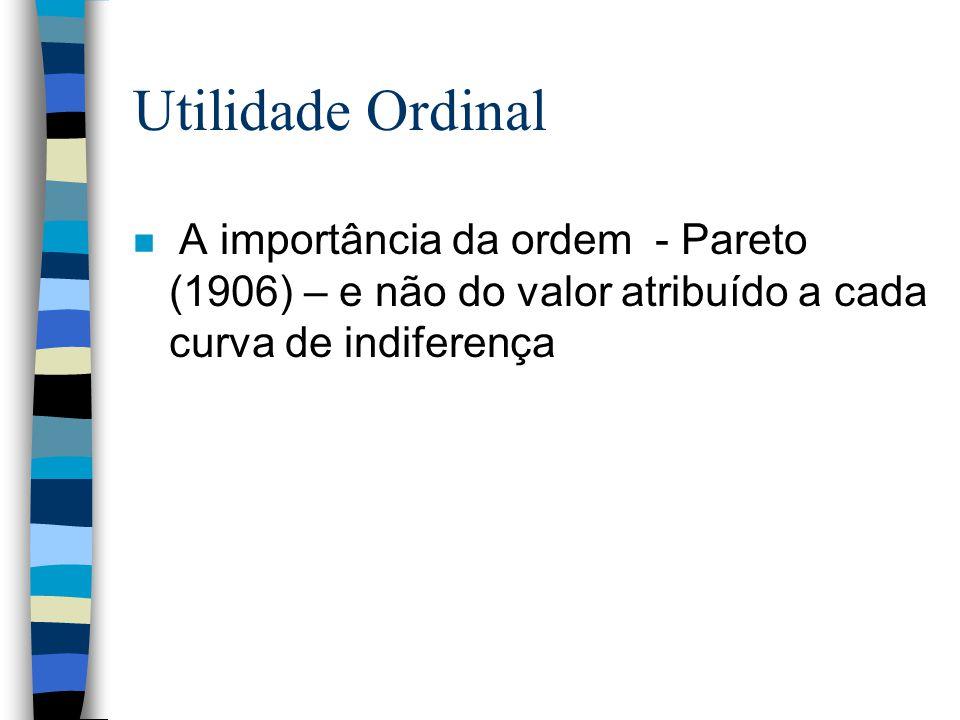 Utilidade Ordinal A importância da ordem - Pareto (1906) – e não do valor atribuído a cada curva de indiferença
