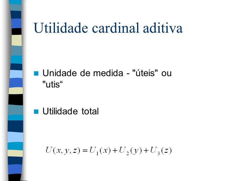 Utilidade cardinal aditiva Unidade de medida -