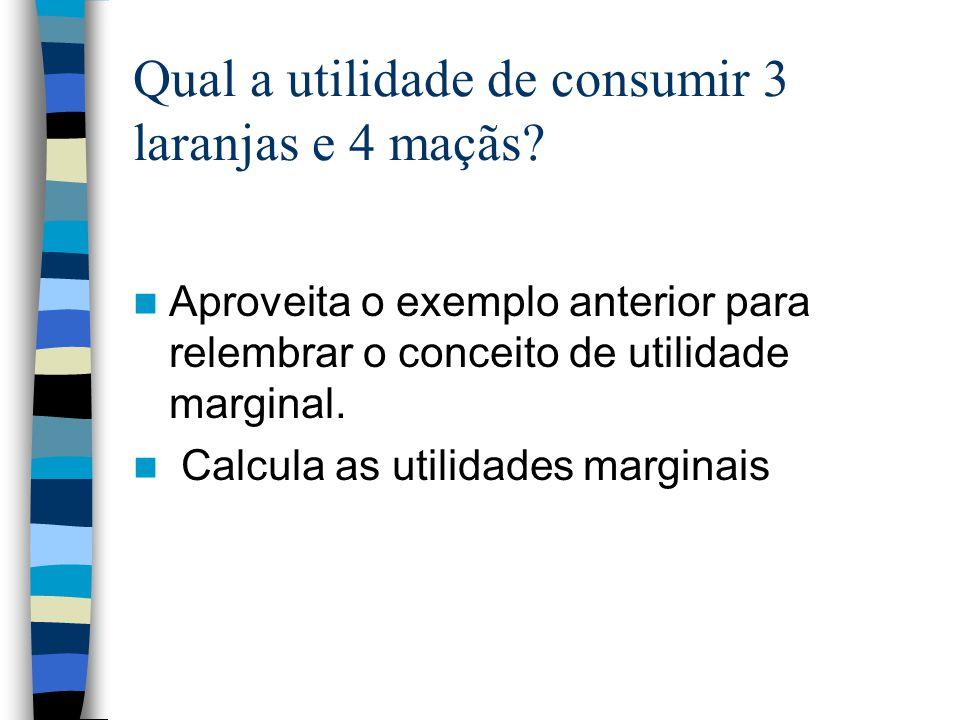 Qual a utilidade de consumir 3 laranjas e 4 maçãs? Aproveita o exemplo anterior para relembrar o conceito de utilidade marginal. Calcula as utilidades