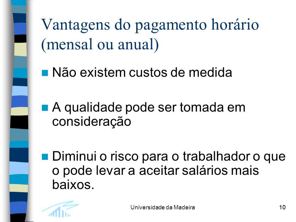 10Universidade da Madeira10 Vantagens do pagamento horário (mensal ou anual) Não existem custos de medida A qualidade pode ser tomada em consideração