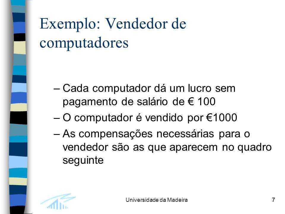7Universidade da Madeira7 Exemplo: Vendedor de computadores –Cada computador dá um lucro sem pagamento de salário de € 100 –O computador é vendido por €1000 –As compensações necessárias para o vendedor são as que aparecem no quadro seguinte