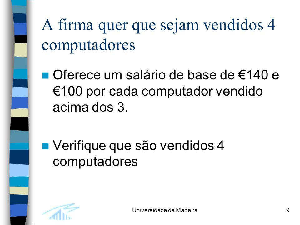 9Universidade da Madeira9 A firma quer que sejam vendidos 4 computadores Oferece um salário de base de €140 e €100 por cada computador vendido acima d