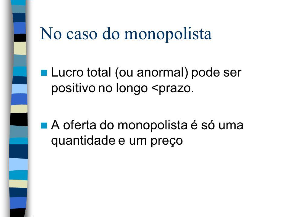 No caso do monopolista Lucro total (ou anormal) pode ser positivo no longo <prazo. A oferta do monopolista é só uma quantidade e um preço