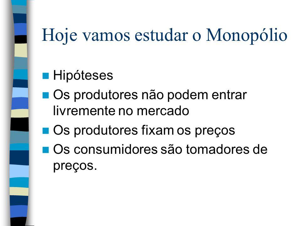 Hoje vamos estudar o Monopólio Hipóteses Os produtores não podem entrar livremente no mercado Os produtores fixam os preços Os consumidores são tomado