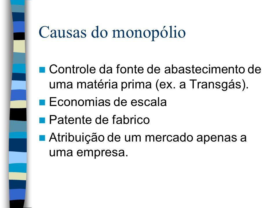 Causas do monopólio Controle da fonte de abastecimento de uma matéria prima (ex. a Transgás). Economias de escala Patente de fabrico Atribuição de um