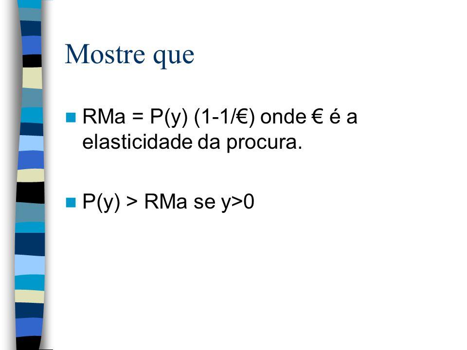 Mostre que RMa = P(y) (1-1/€) onde € é a elasticidade da procura. P(y) > RMa se y>0