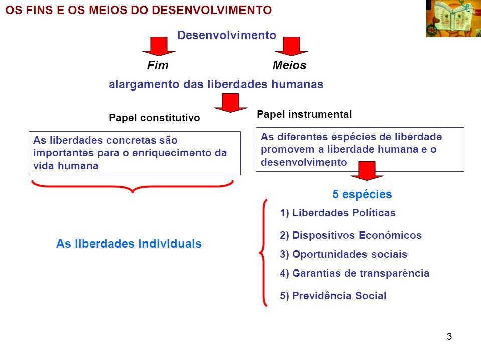 4 Dar atenção à eliminação das fontes de restrição; O que significa perspectivar o Desenvolvimento como Liberdade.