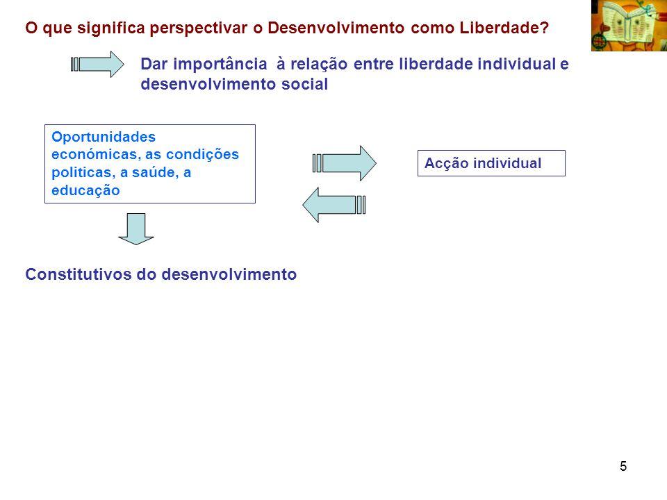 5 O que significa perspectivar o Desenvolvimento como Liberdade? Dar importância à relação entre liberdade individual e desenvolvimento social Constit