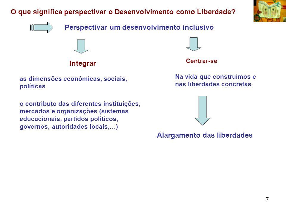 7 O que significa perspectivar o Desenvolvimento como Liberdade? Perspectivar um desenvolvimento inclusivo o contributo das diferentes instituições, m