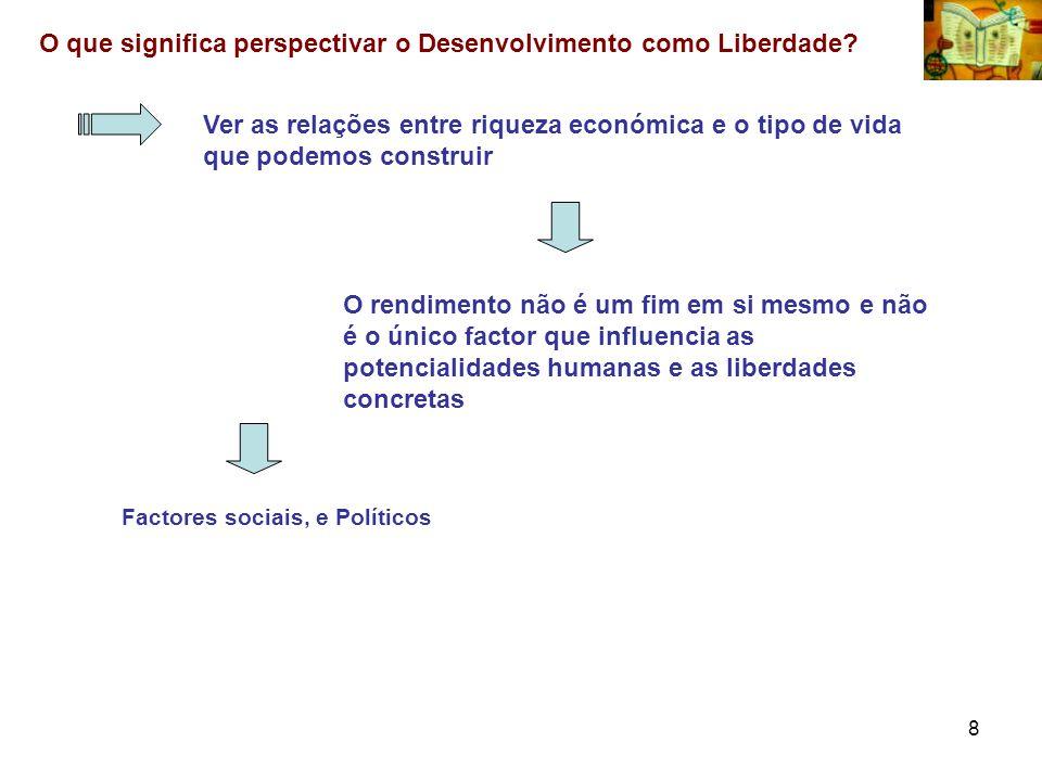 8 O que significa perspectivar o Desenvolvimento como Liberdade? Ver as relações entre riqueza económica e o tipo de vida que podemos construir O rend