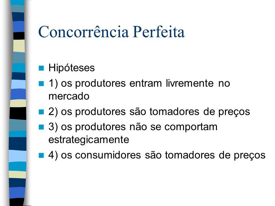 Concorrência Perfeita Hipóteses 1) os produtores entram livremente no mercado 2) os produtores são tomadores de preços 3) os produtores não se comport