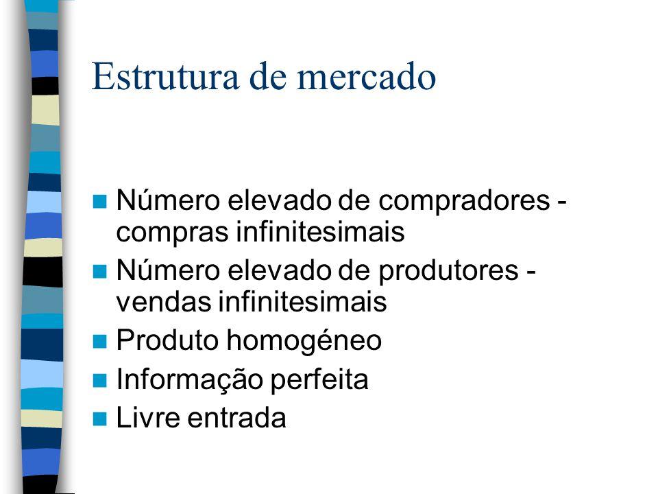Estrutura de mercado Número elevado de compradores - compras infinitesimais Número elevado de produtores - vendas infinitesimais Produto homogéneo Inf