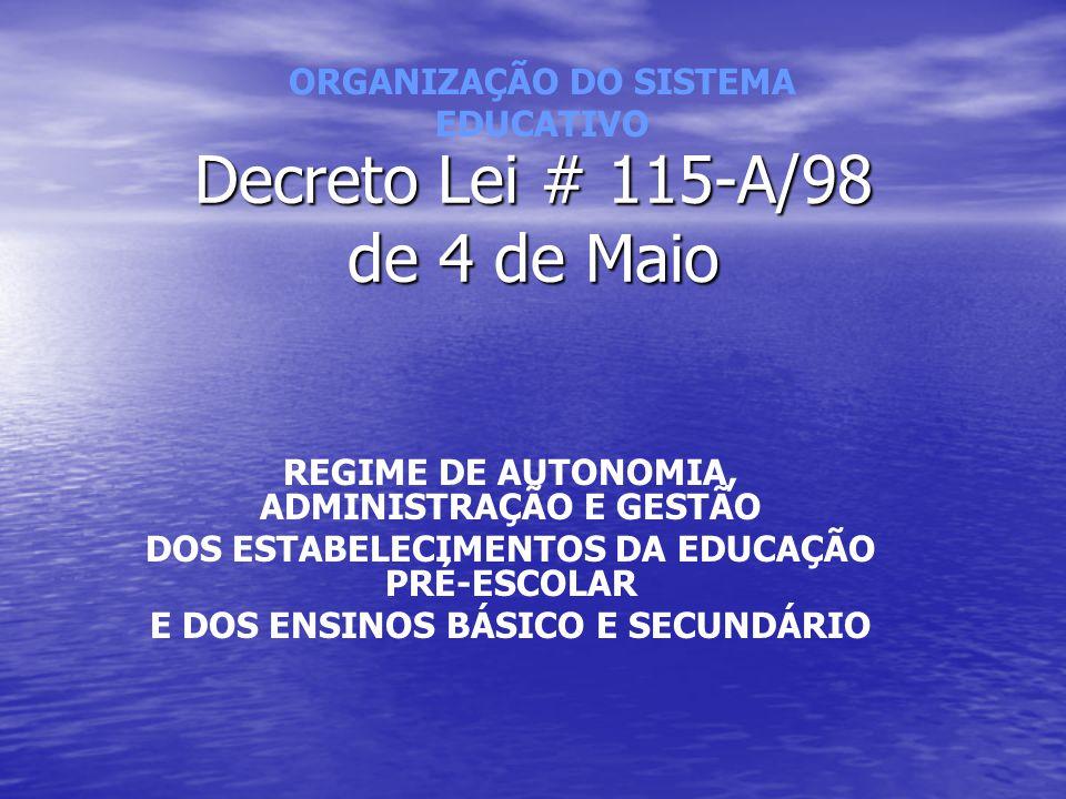 Decreto Lei # 115-A/98 de 4 de Maio REGIME DE AUTONOMIA, ADMINISTRAÇÃO E GESTÃO DOS ESTABELECIMENTOS DA EDUCAÇÃO PRÉ-ESCOLAR E DOS ENSINOS BÁSICO E SE