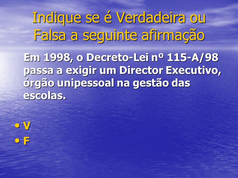 Em 1998, o Decreto-Lei nº 115-A/98 passa a exigir um Director Executivo, órgão unipessoal na gestão das escolas. Em 1998, o Decreto-Lei nº 115-A/98 pa