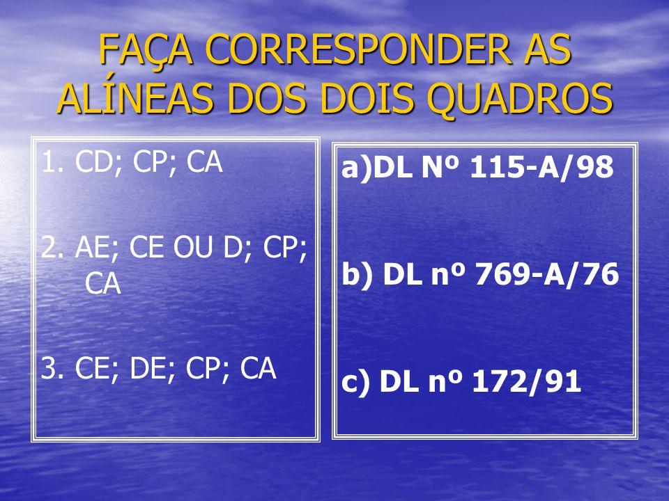 FAÇA CORRESPONDER AS ALÍNEAS DOS DOIS QUADROS 1. CD; CP; CA 2. AE; CE OU D; CP; CA 3. CE; DE; CP; CA a)DL Nº 115-A/98 b) DL nº 769-A/76 c) DL nº 172/9