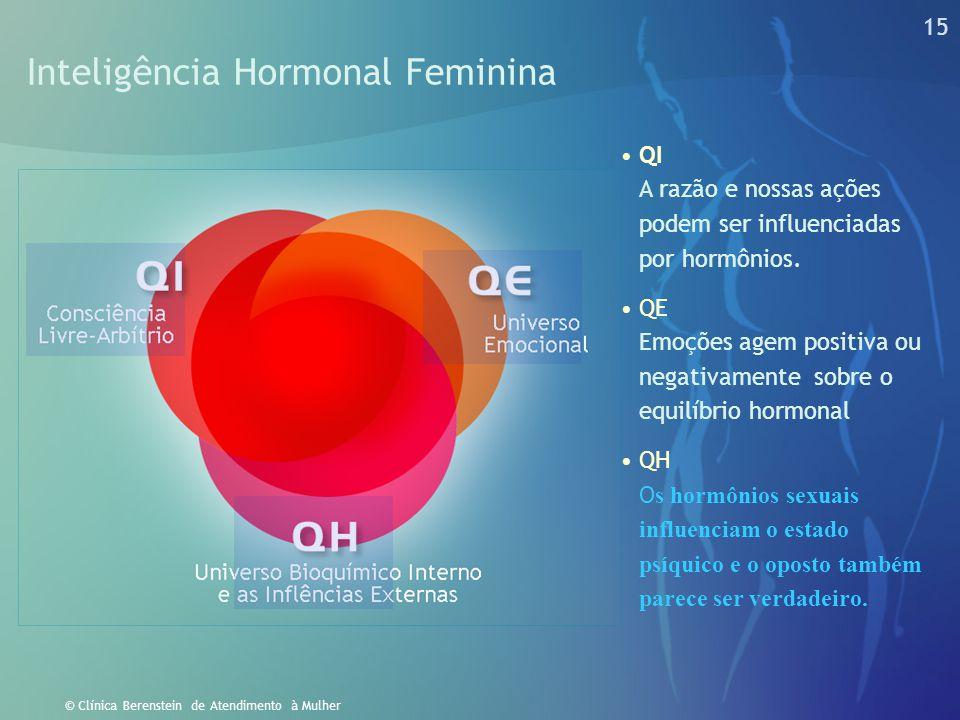 14 © Clínica Berenstein de Atendimento à Mulher Hormônios x Psiquismo Feminino Os hormônios ignoram o que nossas mães nos disseram para fazer. Eles ap