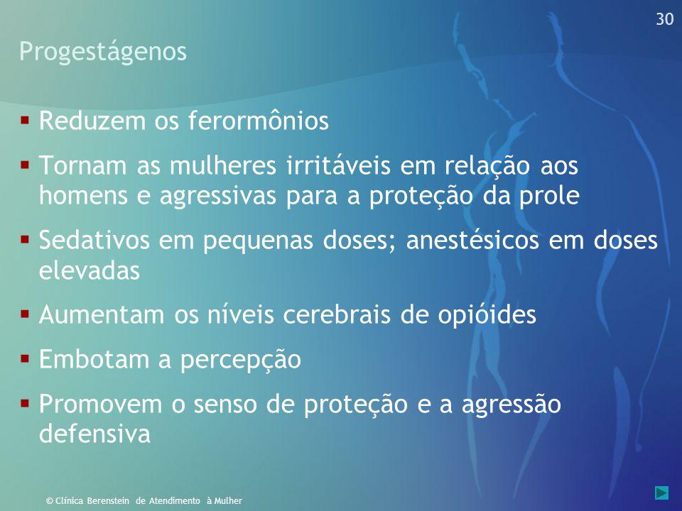 29 © Clínica Berenstein de Atendimento à Mulher Andrógenos  São proceptivos, aumentam o impulso sexual agressivo em homens e mulheres.  Aumentam os