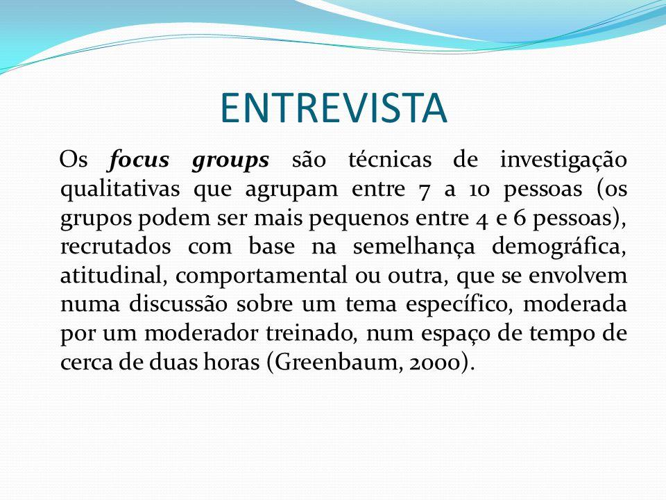 ENTREVISTA Os focus groups são técnicas de investigação qualitativas que agrupam entre 7 a 10 pessoas (os grupos podem ser mais pequenos entre 4 e 6 p