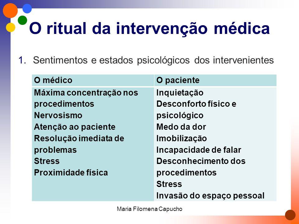 A partilha de informações Necessidade de informação permanente sobre os procedimentos Resposta às expectativas (implícitas) de cada paciente Maria Filomena Capucho