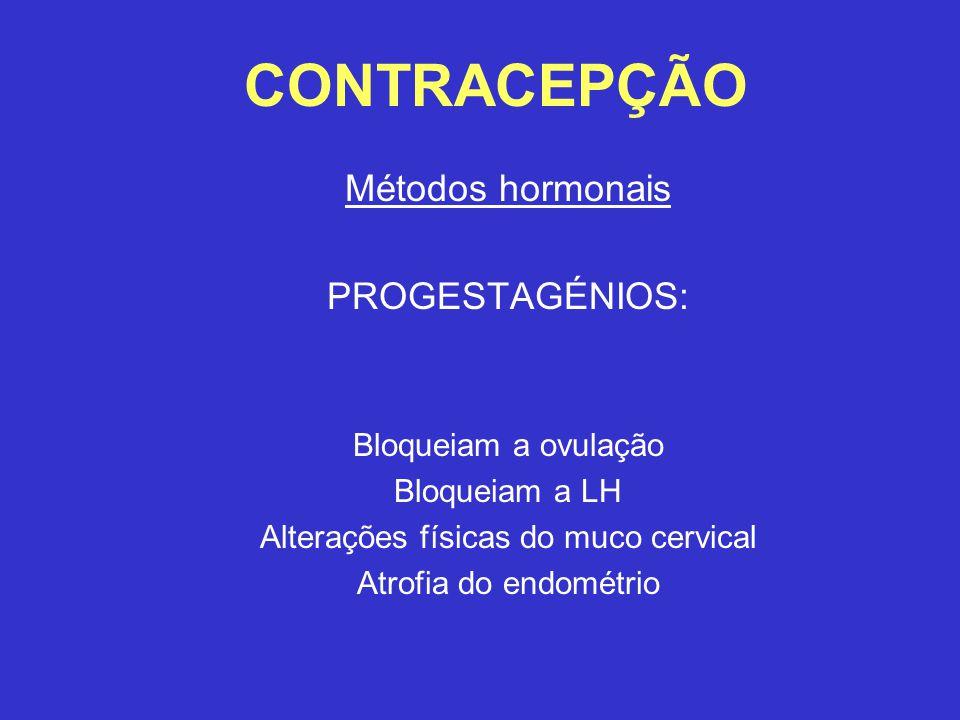 CONTRACEPÇÃO Métodos hormonais PROGESTAGÉNIOS: Bloqueiam a ovulação Bloqueiam a LH Alterações físicas do muco cervical Atrofia do endométrio