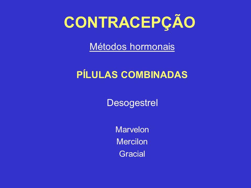 CONTRACEPÇÃO Métodos hormonais PÍLULAS COMBINADAS Desogestrel Marvelon Mercilon Gracial