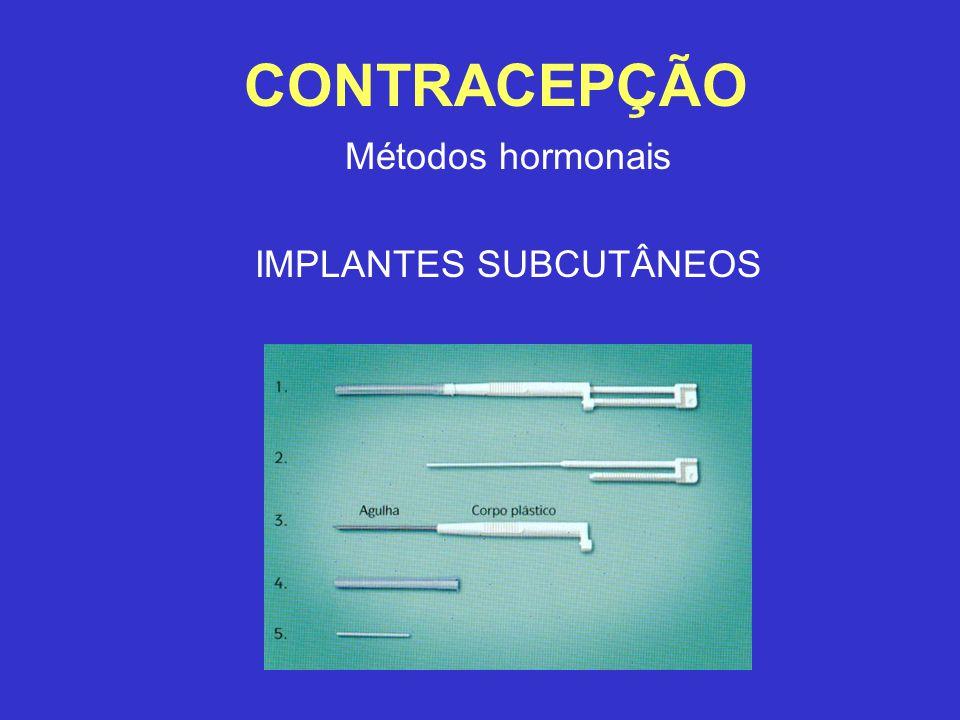 CONTRACEPÇÃO Métodos hormonais IMPLANTES SUBCUTÂNEOS