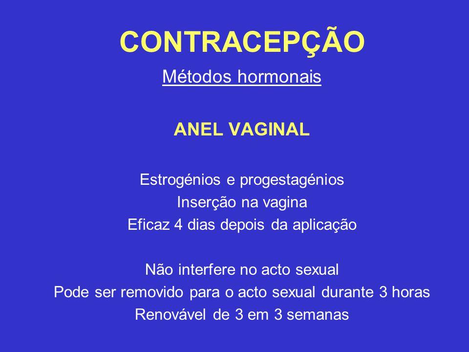 CONTRACEPÇÃO Métodos hormonais ANEL VAGINAL Estrogénios e progestagénios Inserção na vagina Eficaz 4 dias depois da aplicação Não interfere no acto sexual Pode ser removido para o acto sexual durante 3 horas Renovável de 3 em 3 semanas