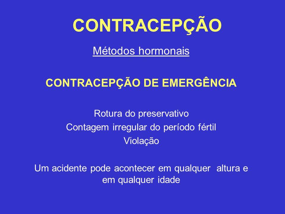 CONTRACEPÇÃO Métodos hormonais CONTRACEPÇÃO DE EMERGÊNCIA Rotura do preservativo Contagem irregular do período fértil Violação Um acidente pode acontecer em qualquer altura e em qualquer idade
