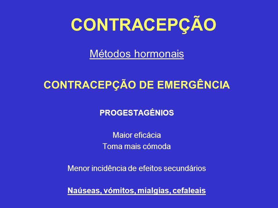 CONTRACEPÇÃO Métodos hormonais CONTRACEPÇÃO DE EMERGÊNCIA PROGESTAGÉNIOS Maior eficácia Toma mais cómoda Menor incidência de efeitos secundários Naúseas, vómitos, mialgias, cefaleais