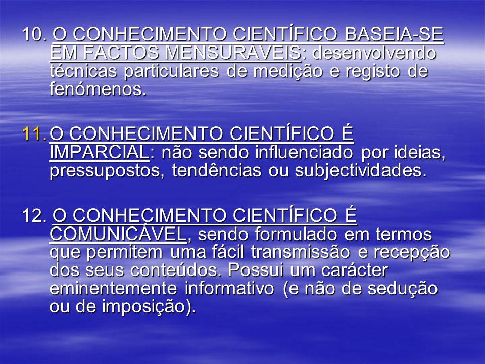 10. O CONHECIMENTO CIENTÍFICO BASEIA-SE EM FACTOS MENSURÁVEIS: desenvolvendo técnicas particulares de medição e registo de fenómenos. 11.O CONHECIMENT