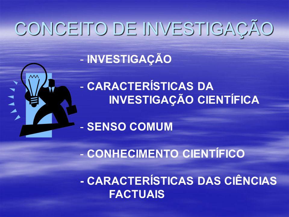 CONCEITO DE INVESTIGAÇÃO - INVESTIGAÇÃO - CARACTERÍSTICAS DA INVESTIGAÇÃO CIENTÍFICA - SENSO COMUM - CONHECIMENTO CIENTÍFICO - CARACTERÍSTICAS DAS CIÊ
