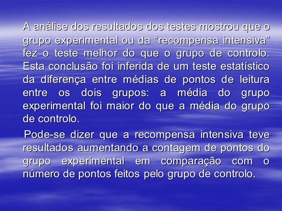 "A análise dos resultados dos testes mostrou que o grupo experimental ou da ""recompensa intensiva"" fez o teste melhor do que o grupo de controlo. Esta"