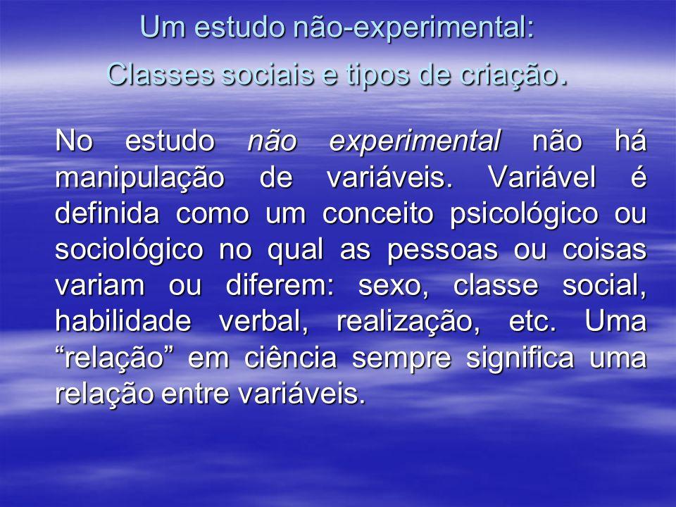 Um estudo não-experimental: Classes sociais e tipos de criação. No estudo não experimental não há manipulação de variáveis. Variável é definida como u