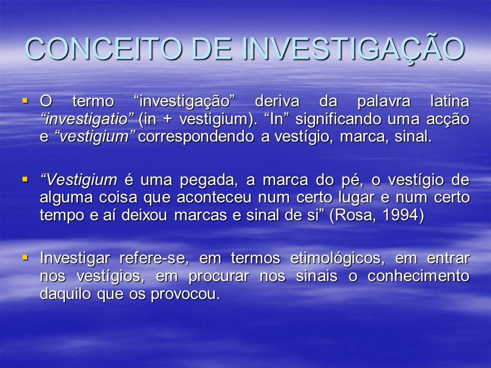 """CONCEITO DE INVESTIGAÇÃO  O termo """"investigação"""" deriva da palavra latina """"investigatio"""" (in + vestigium). """"In"""" significando uma acção e """"vestigium"""""""