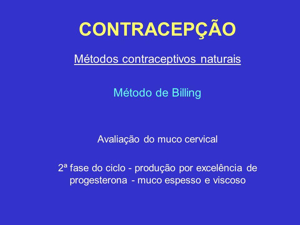 CONTRACEPÇÃO Métodos contraceptivos naturais Método de Billing Avaliação do muco cervical 2ª fase do ciclo - produção por excelência de progesterona -