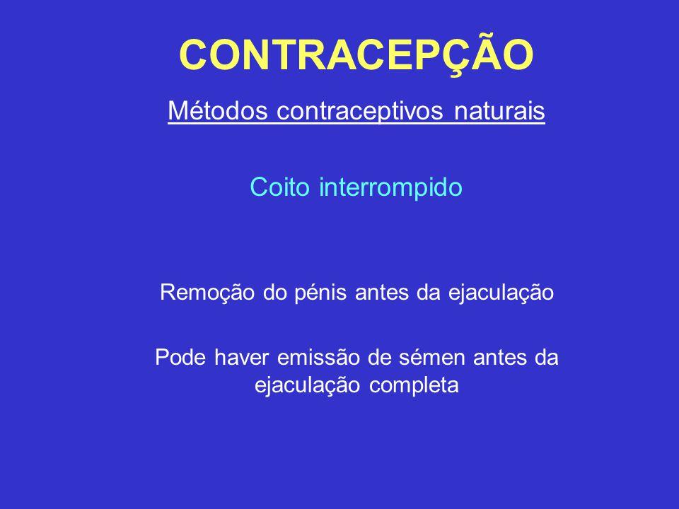 CONTRACEPÇÃO Métodos contraceptivos naturais Coito interrompido Remoção do pénis antes da ejaculação Pode haver emissão de sémen antes da ejaculação c