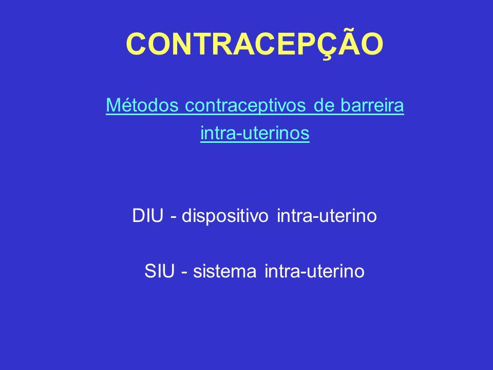 CONTRACEPÇÃO Métodos contraceptivos de barreira intra-uterinos DIU - dispositivo intra-uterino SIU - sistema intra-uterino