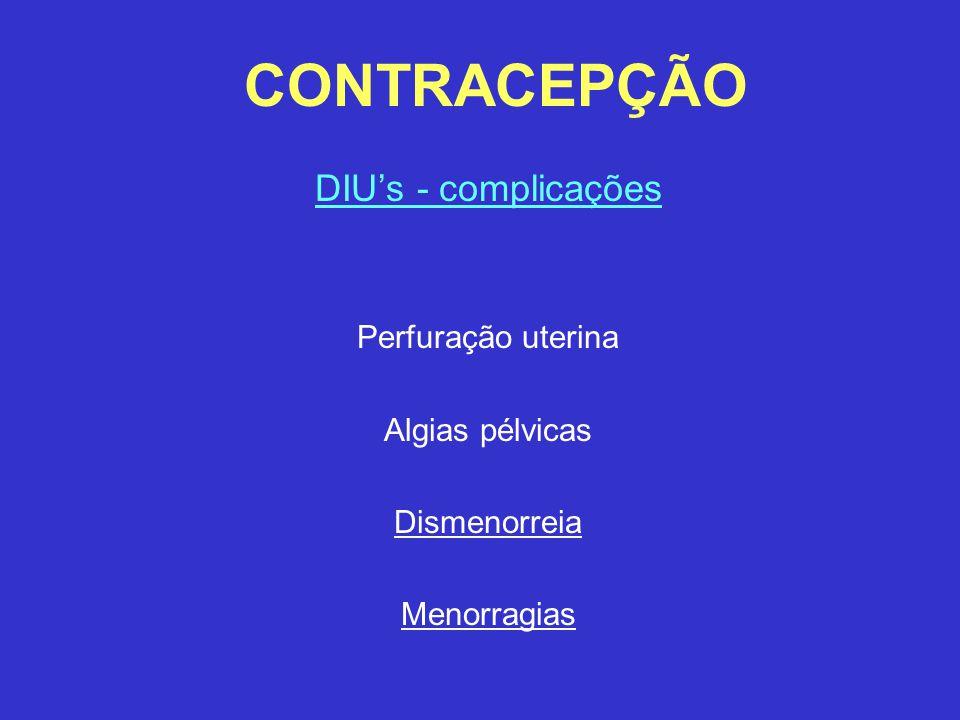 CONTRACEPÇÃO DIU's - complicações Perfuração uterina Algias pélvicas Dismenorreia Menorragias