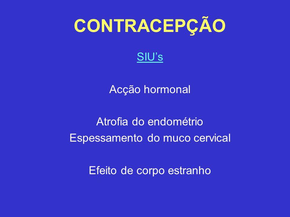 CONTRACEPÇÃO SIU's Acção hormonal Atrofia do endométrio Espessamento do muco cervical Efeito de corpo estranho