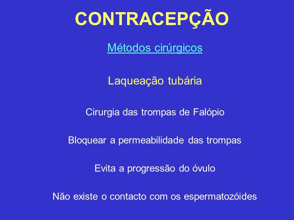 CONTRACEPÇÃO Métodos cirúrgicos Laqueação tubária Cirurgia das trompas de Falópio Bloquear a permeabilidade das trompas Evita a progressão do óvulo Nã