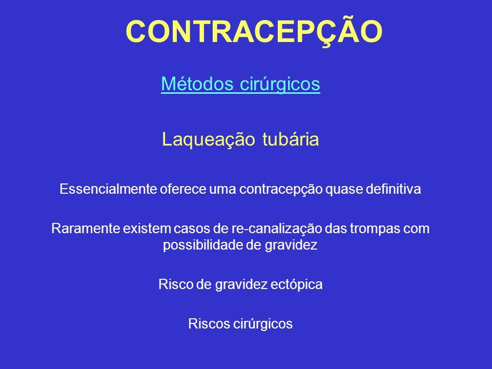CONTRACEPÇÃO Métodos cirúrgicos Laqueação tubária Essencialmente oferece uma contracepção quase definitiva Raramente existem casos de re-canalização d