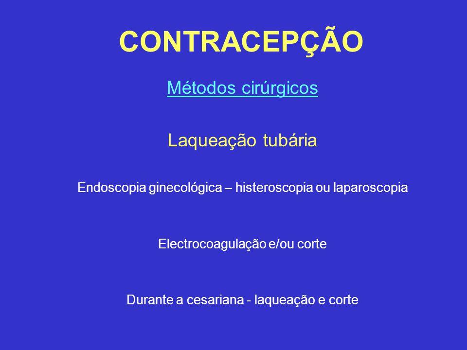 CONTRACEPÇÃO Métodos cirúrgicos Laqueação tubária Endoscopia ginecológica – histeroscopia ou laparoscopia Electrocoagulação e/ou corte Durante a cesar