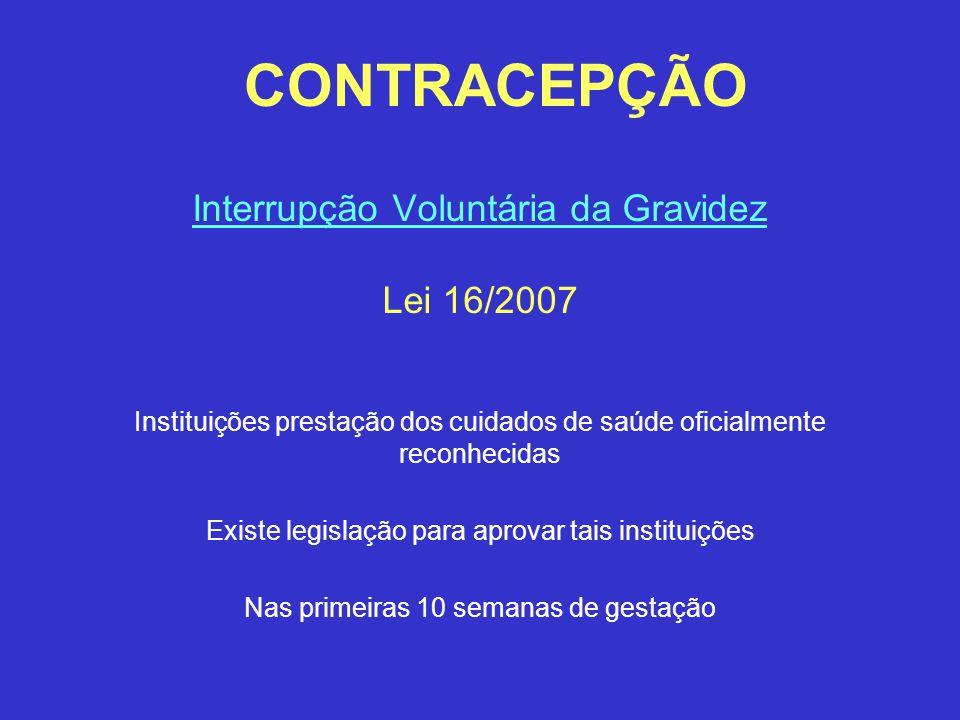 CONTRACEPÇÃO Interrupção Voluntária da Gravidez Lei 16/2007 Instituições prestação dos cuidados de saúde oficialmente reconhecidas Existe legislação p
