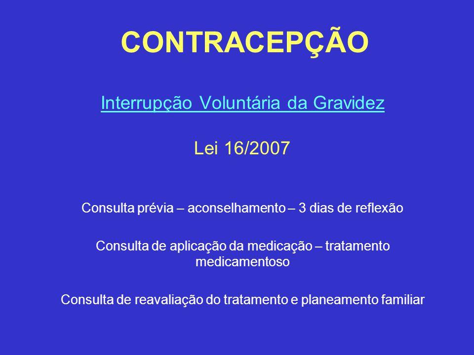 CONTRACEPÇÃO Interrupção Voluntária da Gravidez Lei 16/2007 Consulta prévia – aconselhamento – 3 dias de reflexão Consulta de aplicação da medicação –