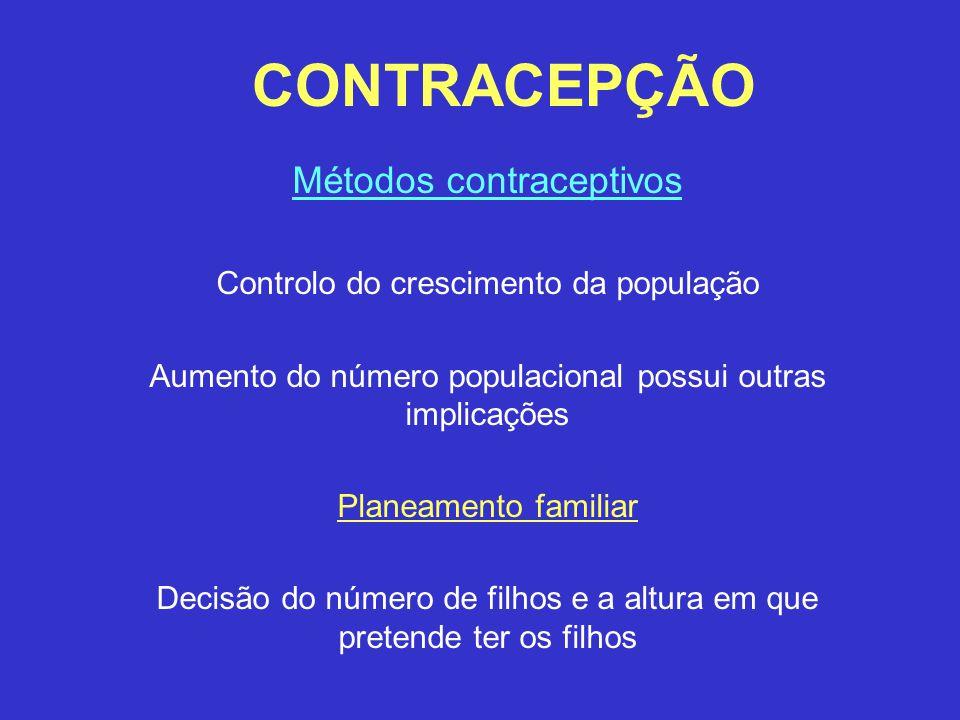 CONTRACEPÇÃO Métodos contraceptivos Controlo do crescimento da população Aumento do número populacional possui outras implicações Planeamento familiar