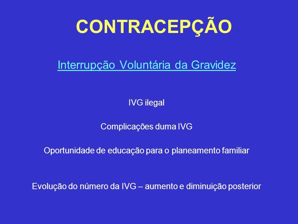 CONTRACEPÇÃO Interrupção Voluntária da Gravidez IVG ilegal Complicações duma IVG Oportunidade de educação para o planeamento familiar Evolução do núme
