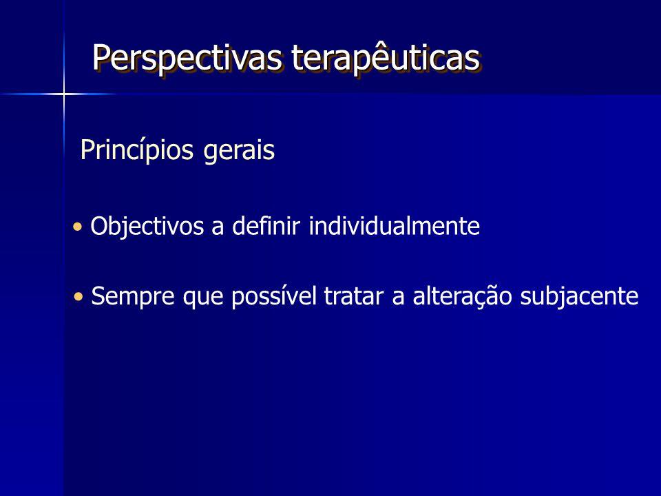 Objectivos a definir individualmente Perspectivas terapêuticas Sempre que possível tratar a alteração subjacente Princípios gerais